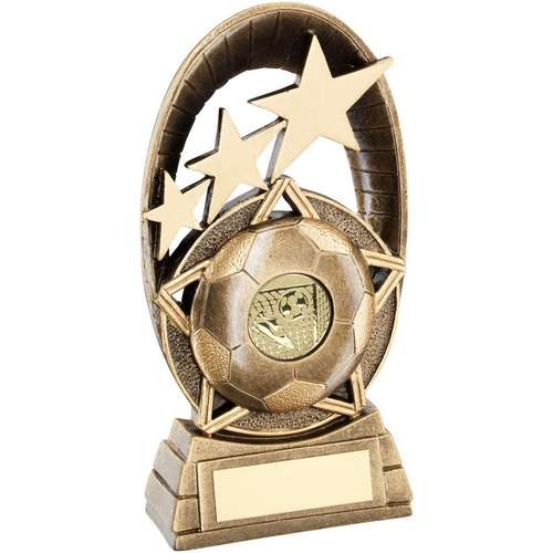 5.5in 1in CENTRE BRZ//GOLD FOOTBALL CURVED PLAQUE TROPHY